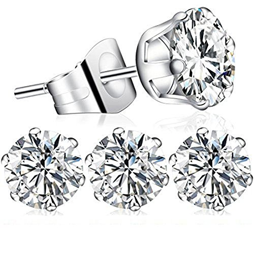2pcs April Birthstone Stud Earrings, Swarovski Element AAA Cubic Zirconia 316L Stainless Steel Earrings for Women Girls (Diamond) (Diamond Moonstone Earrings)