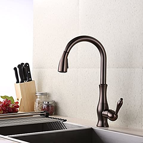 KES Brass Kitchen Faucet Pull Down Sprayer Farmhouse Tall Pullout Bar Sink Faucet Modern Single Large Commercial High Arc Swivel Gooseneck Pulldown Shower Head Satin Oil Rubbed Bronze, - Base Semi Solid Oil