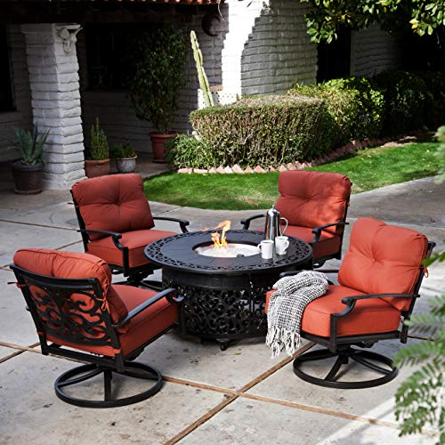 - Fire Pit Patio Set. Outdoor Scrollwork Furniture Kit of Cast Aluminum for Porch, Lawn, Pool, Garden, Balcony Diner, Chat, 4 Person. Outside, Round Fireplace Table, Swivel Armchairs & Cushions (Black)