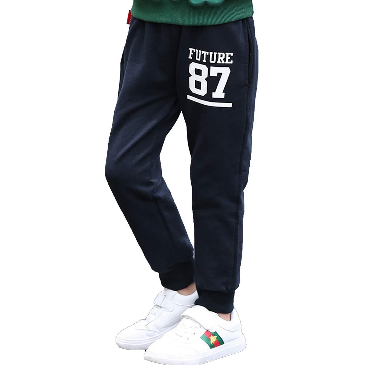 OnlyAngel Kids Boys Sports Pants Black Cotton Elastic Waist Leisure Trousers Age 3-10