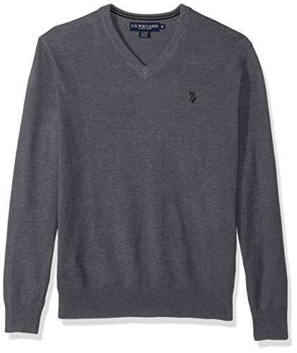 U.S. Polo Assn. Men's Stretch Fabric Solid V-Neck Sweater, Iron Heather, Large by U.S. Polo Assn.