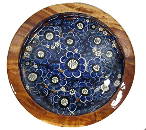 Hand Painted Mexican Folk Art - HAND CARVED HAND PAINTED WOOD SERVING BOWL FRUIT SALAD CHIPS DISH BEAUTIFUL MEXICAN FOLK ART X-Large (Blue & White Flowers)
