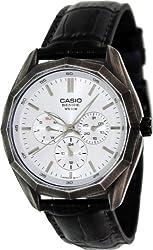 Casio Men's Core BEM310BL-7A Black Leather Quartz Watch with Silver Dial