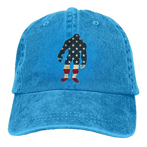 Bigfoot Sasquatch Silhouette USA Flag Vintage Denim Baseball Cap Unisex -