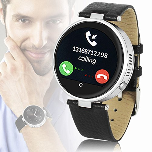 Indigi #1 Gift Idea Unisex Bluetooth Smart Watch Phone Stylish Metal Case Leather Band Water Resistant Compatible for all iPhone iOS Android Smartphone Review