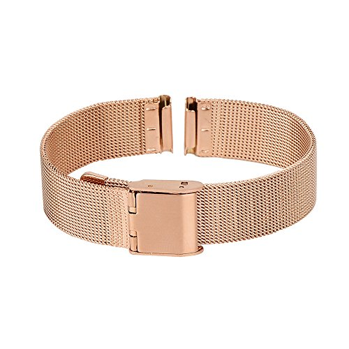 Xuexy 14mm Pebble Time Round Milanese Wire Mesh Stainless Steel Watch Band Strap Replacement Bracelet, Rose Gold