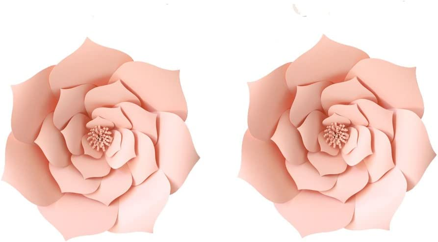LG-Free 12 inch 2pcs Pink Party Paper Flower Wedding Paper Backdrop DIY Handemade Flower Wall Backdrop Decoration Rose Paper Flower for Nursey Birthday Home Decor (2pcs, Lt-Pink)