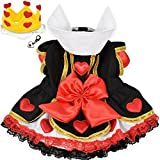 "Queen of Hearts Costume Dress with Charm and Heart Crown Headpiece – For Dogs – Sizes XS thru L (M- Chest 16-18.5"", Neck 11-12"", Back 12.5'', Red/Black)"