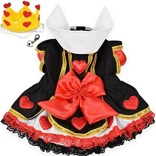 "Queen of Hearts Costume Dress with Charm and Heart Crown Headpiece – For Dogs – Sizes XS thru L (M- Chest 16-18.5"", Neck 11-12"", Back 12.5'', Red/Black) by Puppe Love"