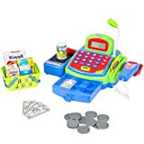 Best Choice Products Kids Pretend Toy Cash Register Play Set w/ Money, Groceries, Scanner, Calculator, Mic - Multi