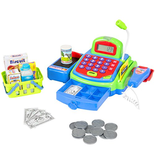 Best Choice Products Educational Kids Pretend Toy Cash Register w/ Working Scanner, Mic, and Calculator - Multicolor (Cash Play Register Calculator)