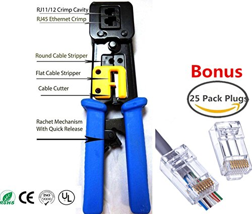 EZ RJ45 Crimp Tool for RJ-11, RJ-12 and RJ-45 - Bonus CAT6 Connector 25 (Computer Data Cable Tool)