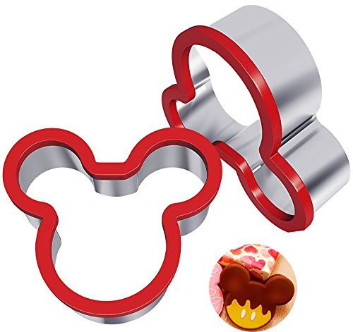 Hibery 2 Pack Stainless Steel Sandwiches Cutter, Mickey Mouse Cookie Cutter, Food Grade Stainless Steel Biscuit Mold Cookie Cutter for Kids Suitable for Cakes and Cookie]()