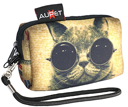 AUPET Funny Cat Design Digital Camera Case Bag Pouch Coin Purse with Strap for Sony Samsung Nikon Canon Kodak