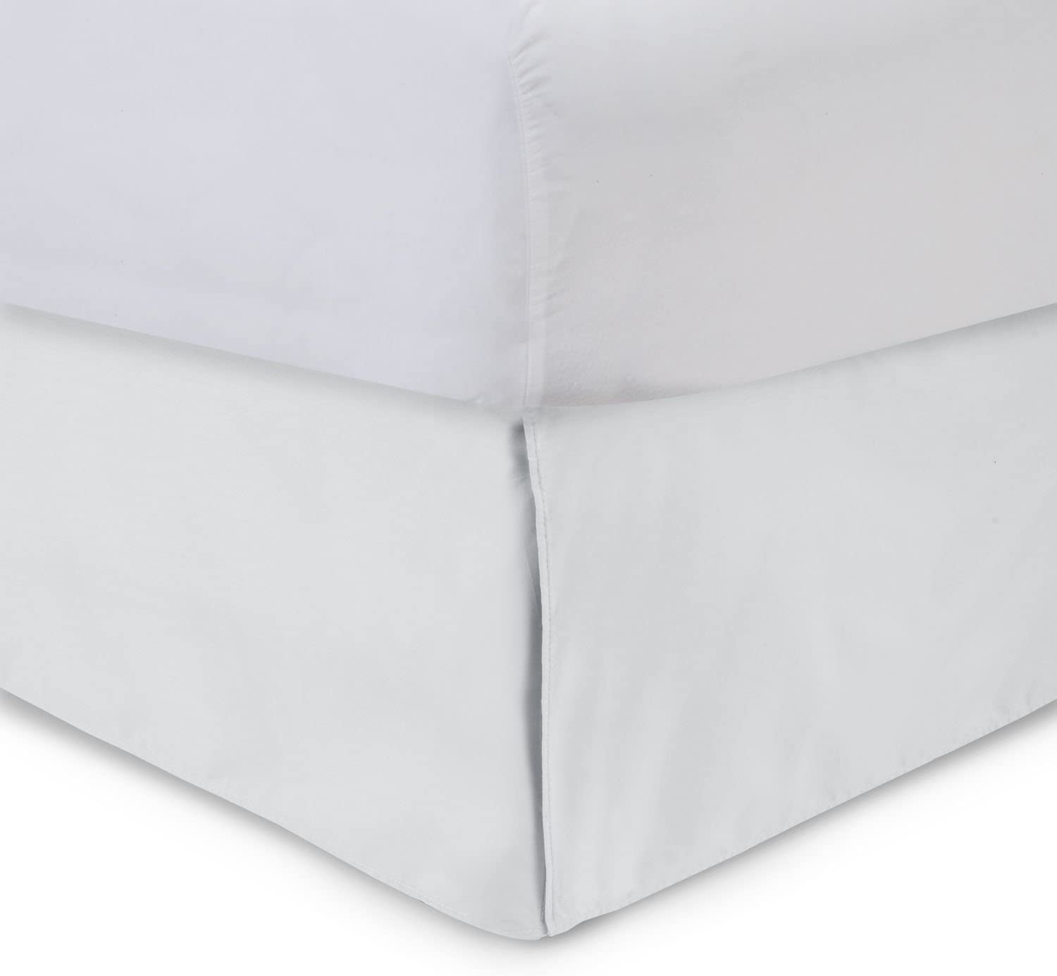 Tailored Bedskirt - 14 inch Drop, King, White Bed Skirt with Split Corners (Available in and 16 Colors) Blissford