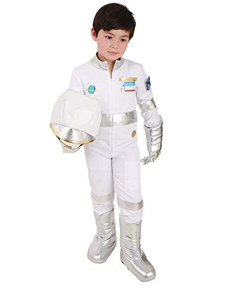 7d8d4300df4 Miccostumes Kids Astronaut White Halloween Helmet Jumpsuit Costume with Gloves  Shoes Cover (One size)