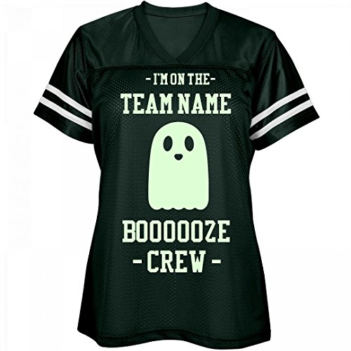Ghostly Glow In The Dark Booze Crew: Ladies Relaxed Fit Mesh Football (Glow In The Dark Halloween Shirts)