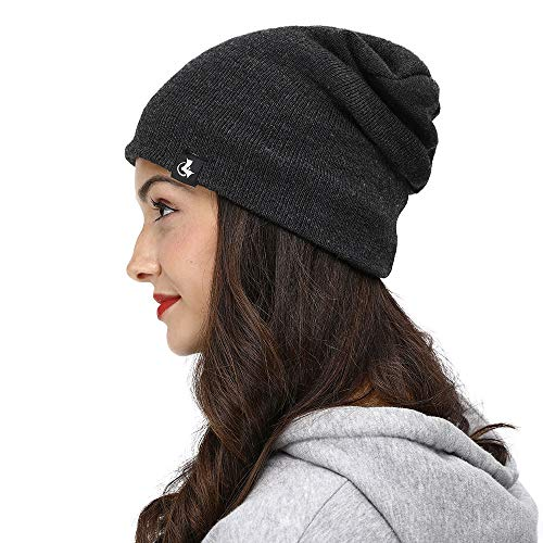 LETHMIK Slouchy Cuff Winter Beanie,Mens&Womens Watch Skull Cap Fleece Lined Knitted Hat Grey