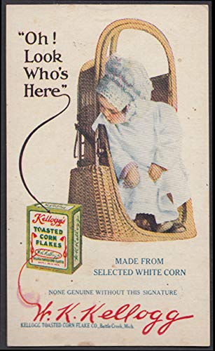 Oh! Look Who's Here Kellogg's Toasted Corn Flakes advertising postcard 1914