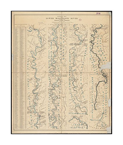 1897 Wall Map Mississippi River District Of Lower Mississippi River Relief Shown By Hachures Includes Table Of Midstream Distances  Ready To Frame Historic Antique Vintage Reprint