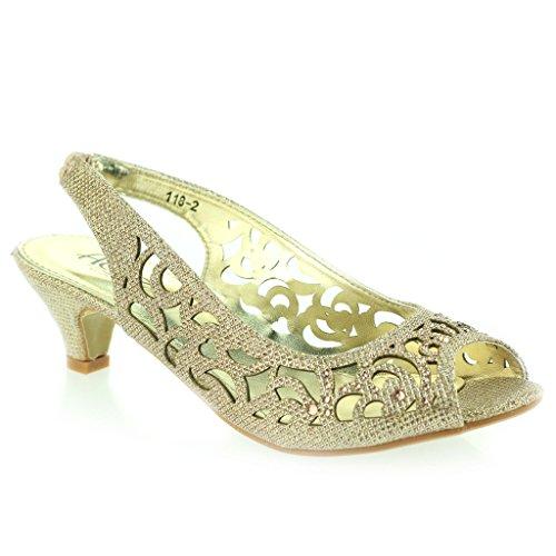 Mujer Señoras Noche Fiesta Boda Peep Toe Slingback Diamante Tacón Medio Sandalias Zapatos Talla Champán