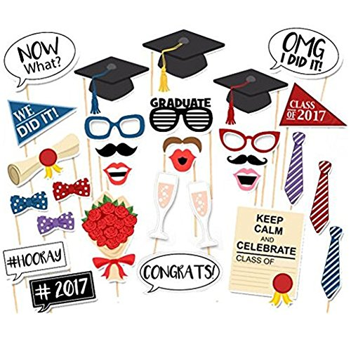 Photo Booth Props On a Stick DIY Party Photo Booth Props Kits for Wedding Party Graduation Birthdays Dress-up Accessories Costumes with Mustache,Hats,Glasses,Lips,Bowties on (Party Goer Costume)