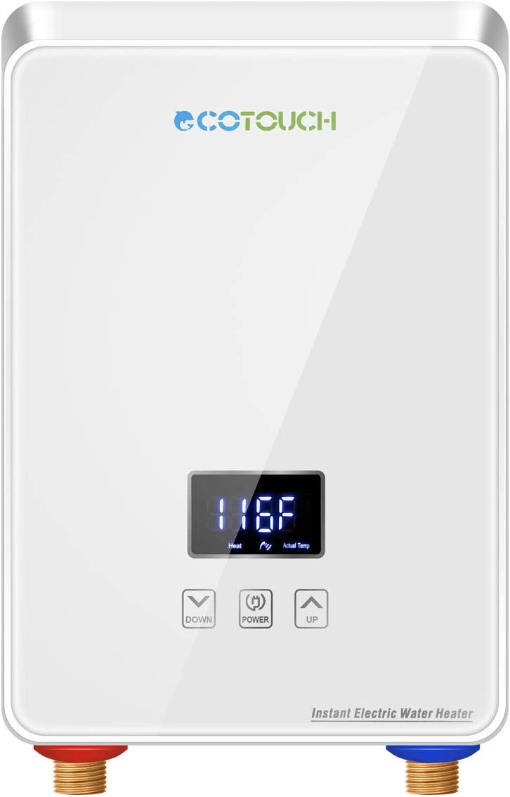 Focket Electric Tankless Water Heater 8500W Wall Mounted Voice Touching Control Home Bathroom Instant Hot Water Heater LED Display Waterproof Water Heater System for Bathing Showering Kitchen Gold