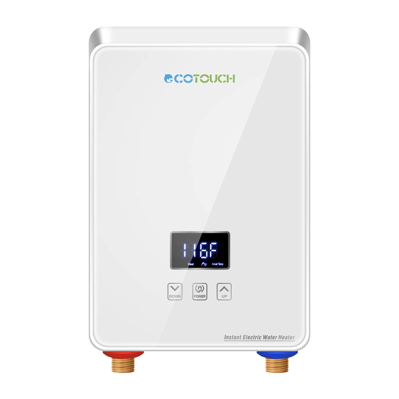 ECOTOUCH Electric Tankless Water Heater Point-of-Use Hot Water Heater Digital Display for Energy Efficiency 5.5kW at 240V, White