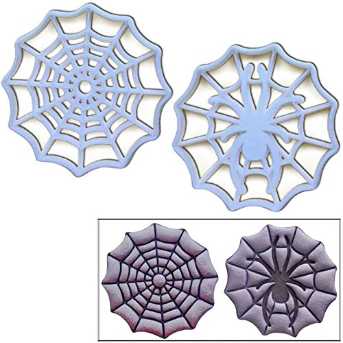 SET of 2 cookie cutters (Cobweb and Spider on Web), 2 pcs, Ideal for Halloween or Spider themed -