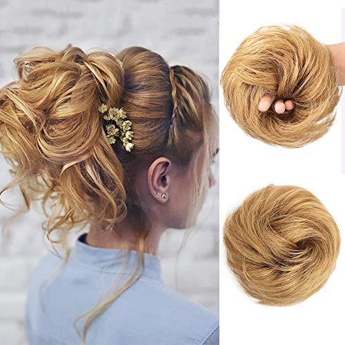Stamped Glorious Messy Bun Scrunchy Human Hair Scrunchies for Women Kids Wedding Donut Updo Chignon Human Hair Extension (Buns Extensions Hair Human)