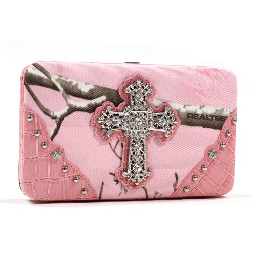 Realtree Camouflage Extra Deep Frame Wallet Purse w Rhinestone Cross -Pink