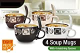 8 Piece Ceramic Deluxe 16oz. Soup Mug Set - Piping Hot