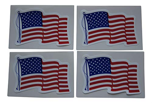 Novel Merk American Flag Patriotic Military Static Cling Window Set Includes Small Rectangle Design in Classic Red, White, Blue US (4 Pieces)