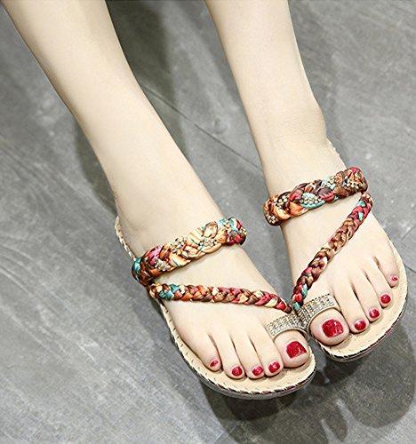 Minetom Mujer Verano Dulce Diamantes De Imitación Tanga Zapatos Planos Trenza Multicolor Clip Toe Chancletas Shoes Playa Albaricoque