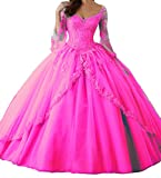 MarryingHoney Lisa Long Sleeve Lace Quinceanera Dress Ball Gown Formal Prom Dress LS201