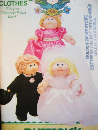 Butterick Pattern 3927 Cabbage Patch Kids Wedding Party: Bride, Groom, Bride's Maid
