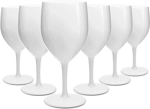 RB Verres à Vin Blancs Plastique Supérieure Incassables Réutilisables 25cl, Lot de 6