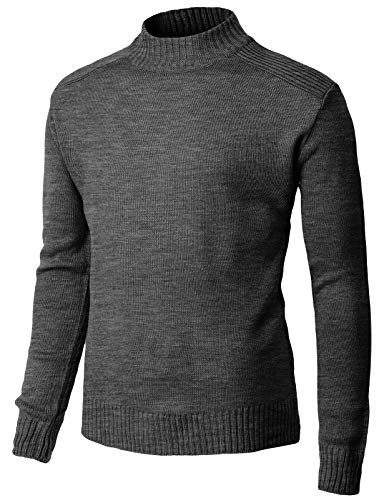 H2H Mens Casual Slim Fit Knitted Thermal Turtleneck Pullover Sweaters Basic Designed Charcoal US M/Asia L (KMOSWL257)