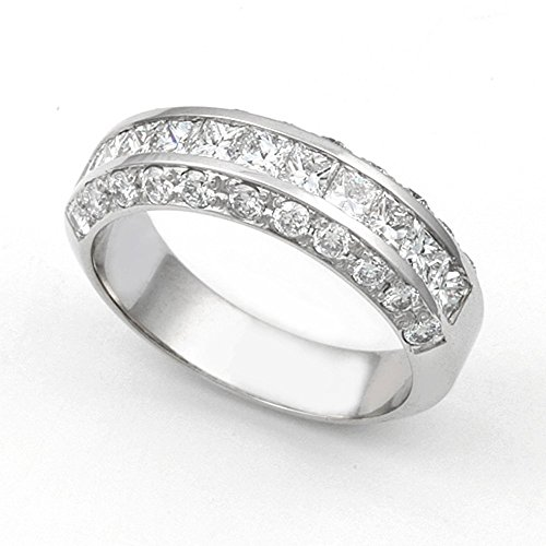 14k White Gold Channel and Pave set Diamond Band Ring (G-H/VS, 1 1/3 ct.), 7.5 by Juno Jewelry