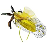 Fascinators Hat for Woman Elegant Feathers Flower Hat Mesh Headband Hair Clip - Yellow