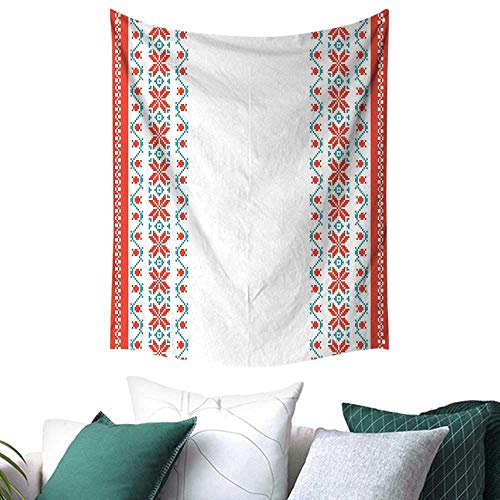 (Anshesix Nordic Tapestry for Bedroom Embroidery Style Floral Petals and Buds Vertical Pattern Composition Gift for Sheet/Blanket 70W x 93L INCH Vermilion Turquoise White)
