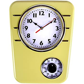 Retro Kitchen Clock With Timer. By Lilyu0027s Home (Mustard)