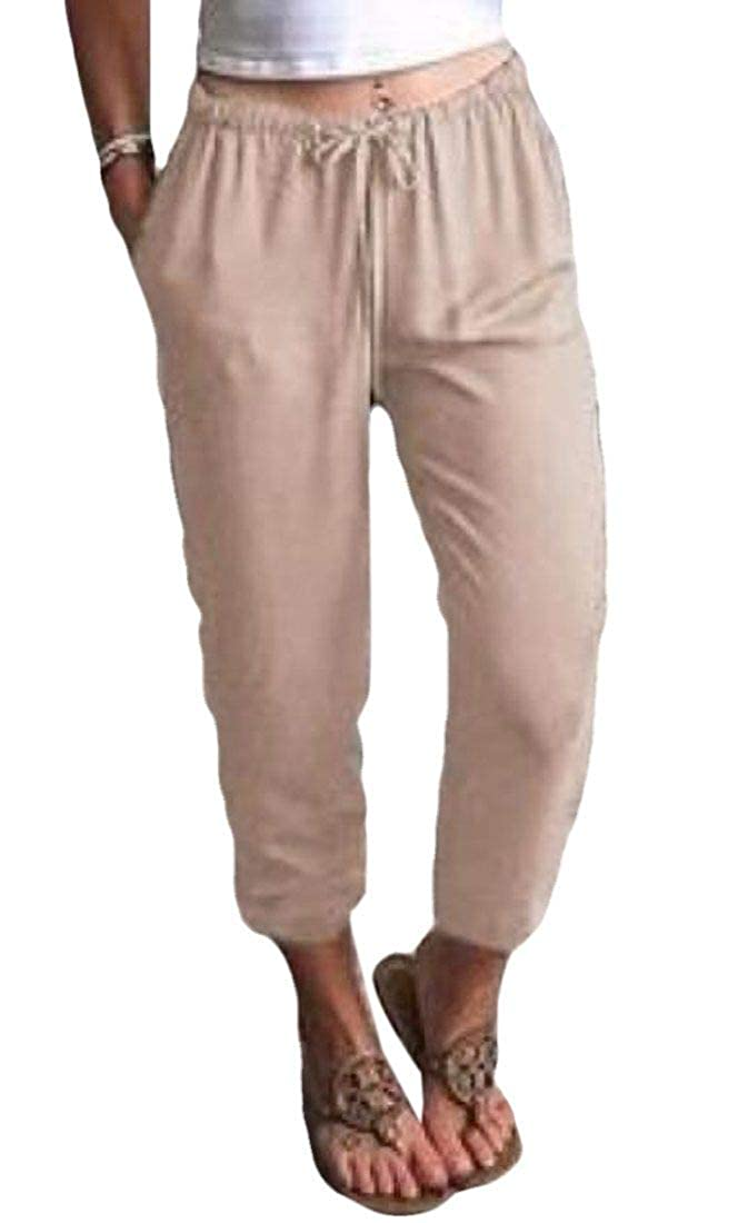 Abeaicoc Womens Solid Color Linen Plus Size Harem Jogger Pants with Pockets