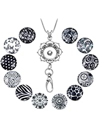 Womens Office Lanyard ID Badges Holder Necklace with 12pcs Snap Charms Jewelry Pendant Clip