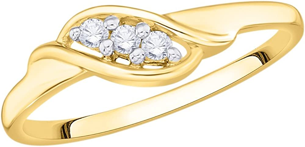 G-H,I2-I3 1//10 cttw, Size-8.75 3 Diamond Promise Ring in 10K Yellow Gold