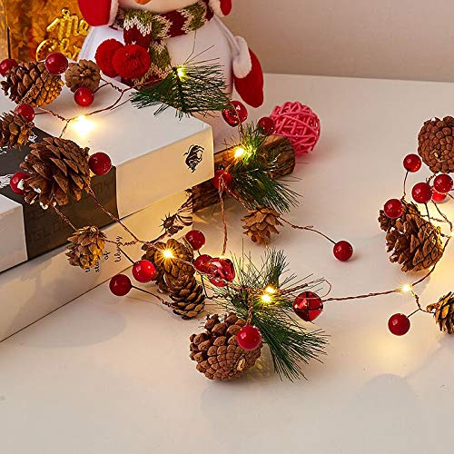 Garland with Lights, Red Berry with Pine Cone Garland Lights 6.5FT 20 LED Battery Operated Prelit Garland Indoor Outdoor Garden Gate Hone Decoration Lights for Winter Holiday New Year Decor from ibdone