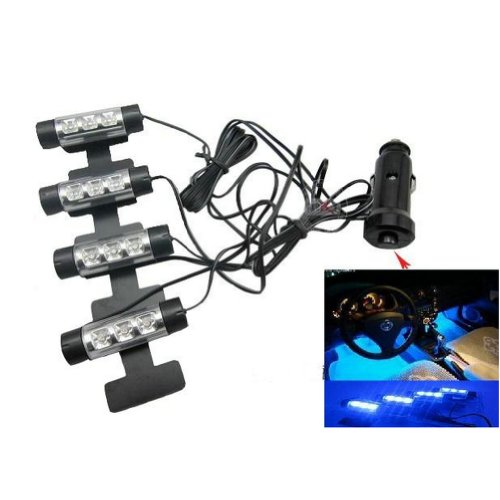 Docooler 12V Car Charge 4x 3 LED Glow Interior Decorative Atmosphere Neon Light Lamp