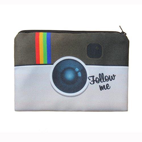 Jom Tokoy Makeup Bag Cartoon Printing Cosmetic Bags Pencil Case (Follow me)