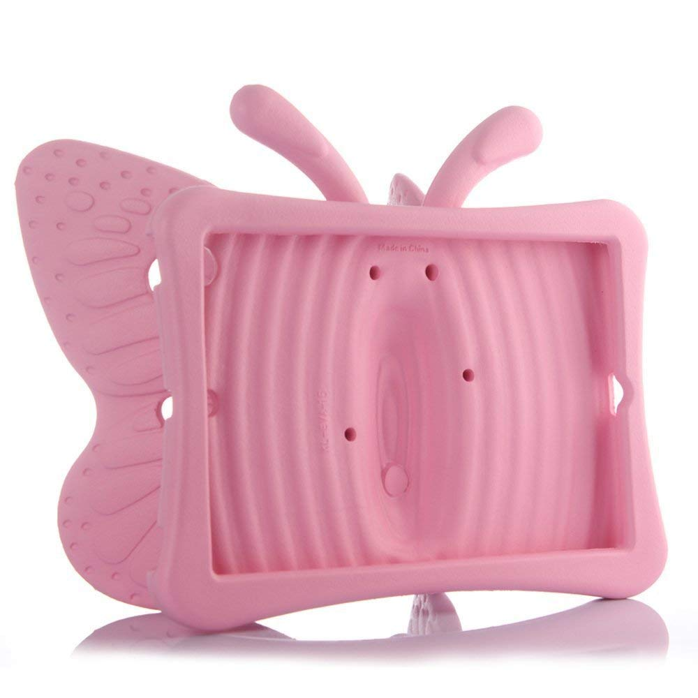 UCMDA Kide Case for iPad Mini 5, UCMDA Light Weight Children Shockproof Protection Cover with Butterfly Stand, Prefect for Apple iPad Mini 1 2 3 4 5, Use Safely Durable EVA Foam Material - Pink