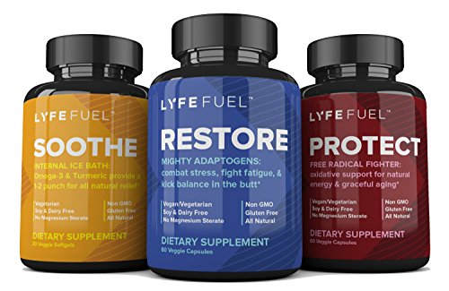 Whole Food Supplement Bundle by LyfeFuel - All Natural Plant-Based Nutrition Supplements - Anti-Inflammatory, Anti-Stress & Anxiety, Anti-Aging (Vegetarian | 3 Pack)